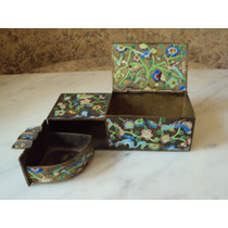 Antigua Rara Caja Cenicero Oriental Chino Esmaltada Cloisone