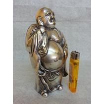 Antiguo Buddha Figura Chino Japones Oriental Bronce Plateado