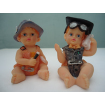 Estatuillas De Resina Plástica Pareja De Bebés Retro Vintage