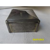 Caja De Metal Plateado Forrado En Paño