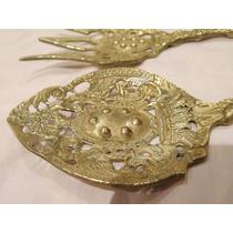 Antiguos Cubiertos Decorativos De Bronce