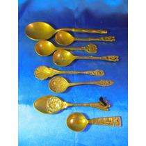 El Arcon Lote De 8 Antiguas Cucharas D Bronce Labradas 31058