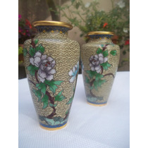 Antiguo Par De Vasos Orientales Bronce Y Cloisonne Chino