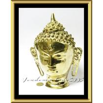 Importante Cabeza Buda Bronce Pulido A Espejo 23 Cms Altura