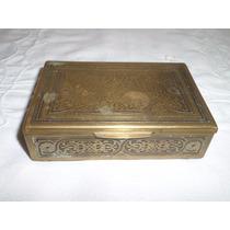 Antigua Caja Bronce Y Madera De Coleccion Labrada Giesso