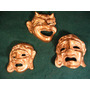 3 Antiguas Máscaras De Bronce.