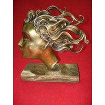 Cabeza De Mujer - Bello Y Antiguo Perfil En Bronce Macizo