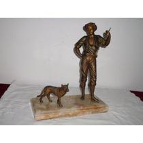 Espectacular Figura De Bronce Muy Pesada Cazador Con Perro