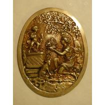 Antigua Placa Aplique De Bronce Cupido Y Venus Para Mueble