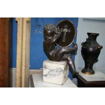 El_kin * Divina Figura De Bronce Motivo Niño Base De Marmol