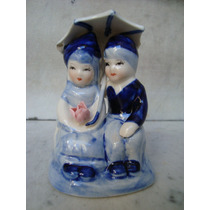 Figura Doble De Ceramica Esmaltada Policromada Sellada-nueva