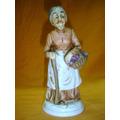 Figura Anciana Con Baston Artesania Bizcocho Ceramico (0602)