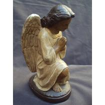 Angel De La Guarda En Ceramica Policromada