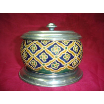 Hermosa Caramelera Deco Ceramica Metal Numerada (578)