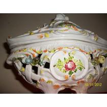 Jardinera Porcelana C/ Enrrejado Flores Pintada (c5)