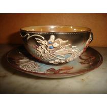 Antigua Bella Taza Y Plato Té Porcelana Satsuma Dragonware