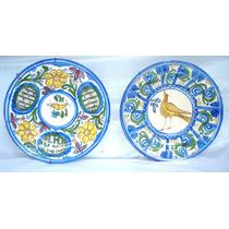 Antiguo Par Platos Decorativos Ceramica Españoles Diam 30 Cm