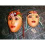 2 Bellas Máscaras Barro Esmaltado Originarias Sto. Domingo