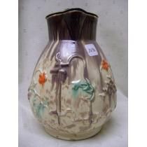 Antigua Jarra De Ceramica Con Tapa De Peltre.