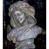 Historical*-bella Terracota Francesa -busto Mujer Sonriendo