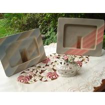 Lote De 2 Portaretratos De Ceramica Esmaltada Y Alhajero
