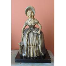 Antigua Figura Ceramica Gres Dama Firmada
