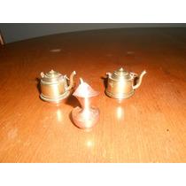 2 Teteras Y 1 Jarra Miniaturas En Bronce Y Cobre