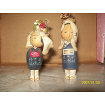 Artesanías Japonesas - Muñecas Antiguas, Talladas En Madera.