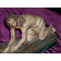 Figura Cristo Madera Antigua Policromada Arte Sacro