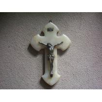 Antiguo Crucifijo Marmol Onix Y Bronce