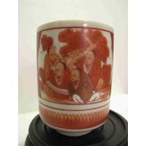 Antiguo Vaso Oriental Porcelana Japonesa Kutani Sellada