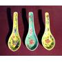 Antiguo Trio De Cucharitas- Porcelana China - C/ Soportes