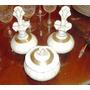 Juego De Toilette Antiguo De Porcelana Verbano Blanco Y Oro.