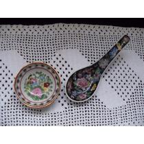 Vaso De Sake Y Cuchara En Porcelana China, Sellados