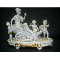 Gran Carroza Porcelana Personajes Sellada Impecable (0300x)