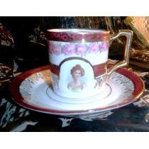 Antigua Taza Plato Café Porcelana Alemana Imperio Oro Dama
