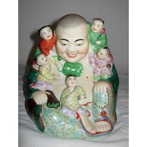 Antigua Figura De Porcelana Buda Sonriente Y 5 Niños Excelen