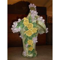 Antiguo Faiance Canasta Con Flores Gran Tamaño Sello Aleman