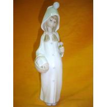 Hermosa Figura Porcelana Lladro Canasta Flores Sello (01024f