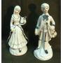 Antiguo Par Figuras Pareja Musicos Porcelana Alt.18 Cm.(123f
