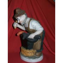 Antigua Figura De Porcelana Biscuit Alemana Policromada 1950