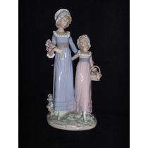 Figura Porcelana Lladro Hermanitas Con Flores (ángela)
