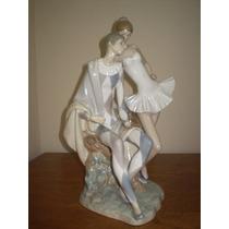 Gran Escultura De Porcelana Lladro Arlequín Y Bailarina