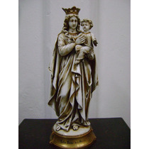 Antigua Virgen Con Niño De Porcelana Italiana Capodimonte