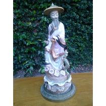 Antigua Figura China En Porcelana Esmaltada Color