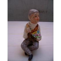 Hermosa Figura En Biscuit De Porcelana Policromado