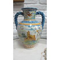 Antiguo Florero De Porcelana Española Talavera De La Reina