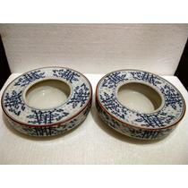 Antiguo Par Portabulbo Oriental Porcelana Japon Arita Sello