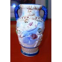 Antigua Ánfora Porcelana Japón S A Querubines Relieve.c1920