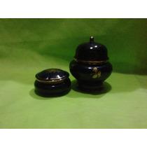 Potiches De Porcelana Azul Cobalto Y Oro Origen Chile (0074)